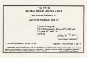 Licences Spiritual Healer